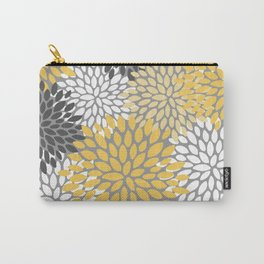 Modern Elegant Chic Floral Pattern, Soft Yellow, Gray, White Carry-All Pouch