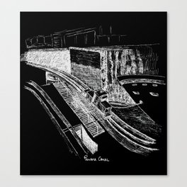 Panama Canal - White on Black Canvas Print
