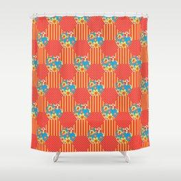Ditsy Orange Flowers on Blue Shower Curtain