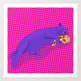 Paws off my pizza! Art Print
