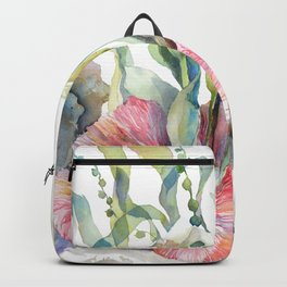 White Calla Lily and Corals Seaweed Watercolor Surreal Botanical Underwater Backpack