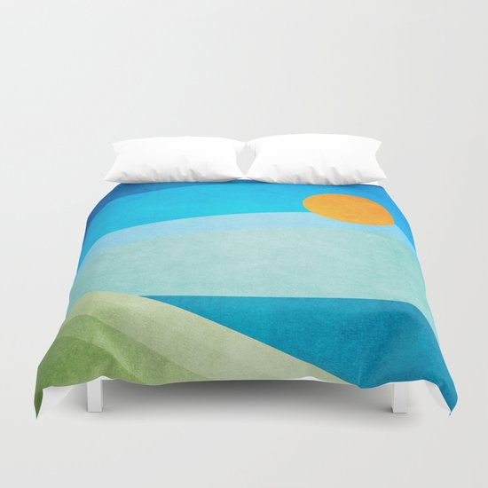 Green Fields Blue Waters Duvet Cover