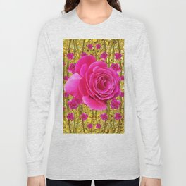 "FUCHSIA PINK ""ROSES & THORNS""  GOLD ART  ROSE  PATTERNS Long Sleeve T-shirt"
