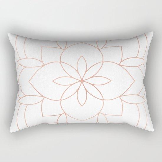 Mandala Rose Gold Pink Art Deco Rectangular Pillow