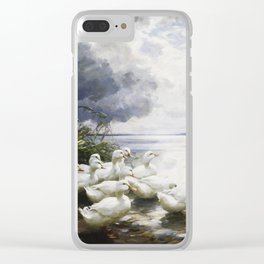 Alexander Max Koester - Ducks At The Lake S Edge Clear iPhone Case