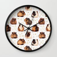 guinea pig Wall Clocks featuring The Essential Guinea Pig by micklyn