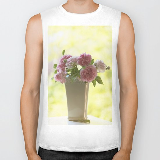 Pink English Roses in a vase- Vintage Rose Stilllife photography Biker Tank