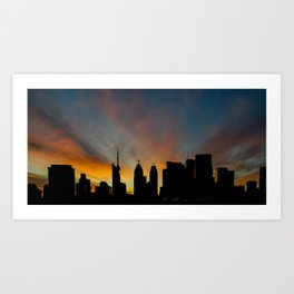 Skyline Sunset City Silhouette Art Print