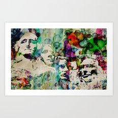 Mount Rushmore Art Abstract Paintings Modern Watercolor Robert R Splashy Art Art Print