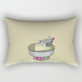 RABBITS AND ROOSTER ON COTTON CANDY MACHINE Rectangular Pillow
