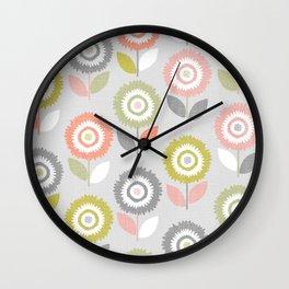 Soft Graphic Flower Pattern Wall Clock