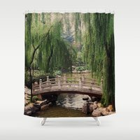 asian Shower Curtains featuring Asian Garden by MehrFarbeimLeben