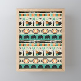 Native spirit with foxes and bears Framed Mini Art Print