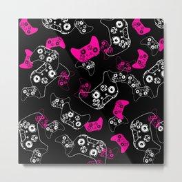 Video Game Pink on Black Metal Print