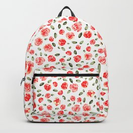 Red Roses Watercolor // Hand Painted Watercolor Floral // Rose Red and Leaf Green Backpack