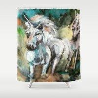unicorns Shower Curtains featuring Unicorns by osile ignacio