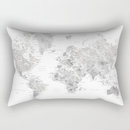 Marble world map in light grey and brown Rectangular Pillow
