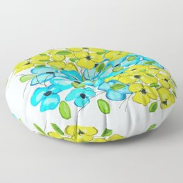 Blue and yellow flowers Floor Pillow