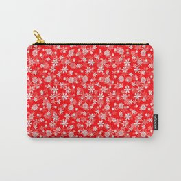Festive Red and White Christmas Holiday Snowflakes Carry-All Pouch