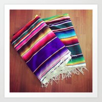 blankets Art Prints featuring mexican blankets by bailybelle