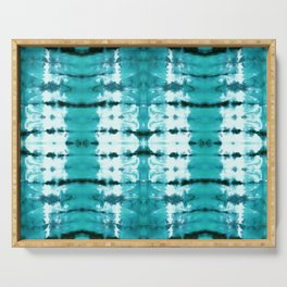 Aqua Satin Shibori Serving Tray