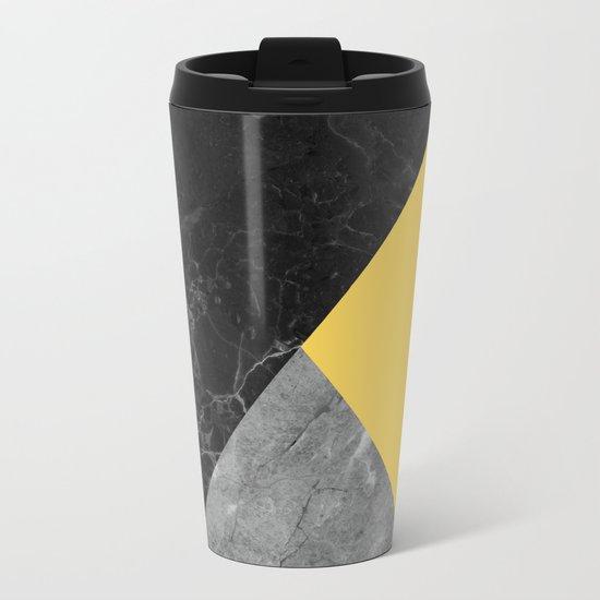 Black and white marbles and pantone primrose yellow color Metal Travel Mug