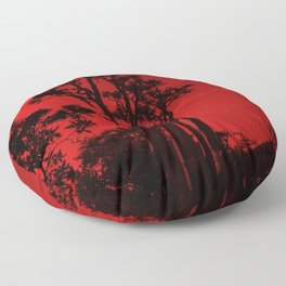 Exotic Tropical Trees Silhouette, Socotra Island Red Floor Pillow