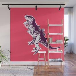Dino Pop Art - T-Rex - Neon Pink & Dark Purple Wall Mural