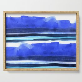 Wave Stripes Abstract Seascape Serving Tray
