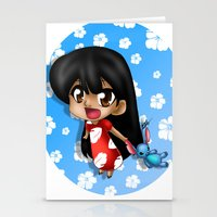 lilo and stitch Stationery Cards featuring Lilo and Stitch (chibi) by HaruShadows