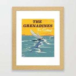 The Grenadines vintage sailing travel poster Framed Art Print