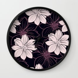 Black and pink autumn dahlia flowers Wall Clock