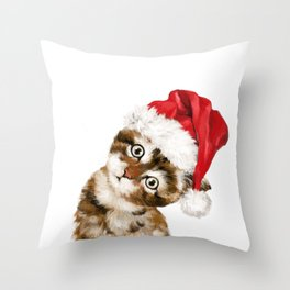 Christmas Baby Cat Throw Pillow