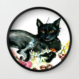 Coffee, Orchid and Black Cat Vintage Style Large Format XXL Wall Clock