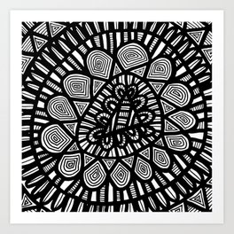 Black and White Doodle 7 Art Print