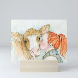 Cow Smooch Mini Art Print