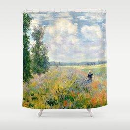 Poppy Fields near Argenteuil by Claude Monet Shower Curtain
