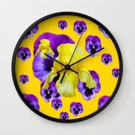 MONTAGE OF PURPLE PANSIES YELLOW IRIS Wall Clock