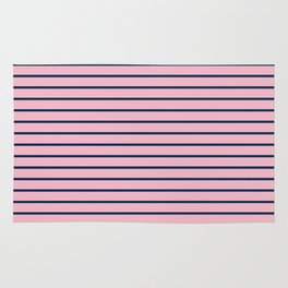 Pink and Navy Blue Horizontal Stripes Rug
