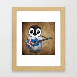 Baby Penguin Playing Icelandic Flag Acoustic Guitar Framed Art Print