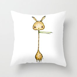 Sad Little Giraffe with scarf Throw Pillow