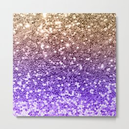Luxury modern violet lilac faux gold sequins glitter Metal Print