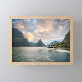 A Cruise going into Sunset at Milford Sound Framed Mini Art Print