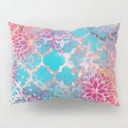 Mixed Media Layered Patterns - Turquoise, Pink & Coral Pillow Sham