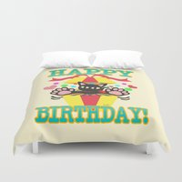 happy birthday Duvet Covers featuring Happy Birthday! by BATKEI