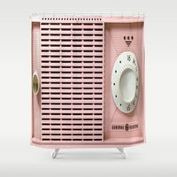 "radio Shower Curtains featuring Old Radio  by ""CVogiatzi."