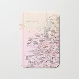 Rose Word Map Europe Bath Mat