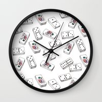 puerto rico Wall Clocks featuring Dominos de Puerto Rico by A Different Place and Time