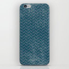 Vintage blue gray abstract geometric chevron pattern iPhone Skin
