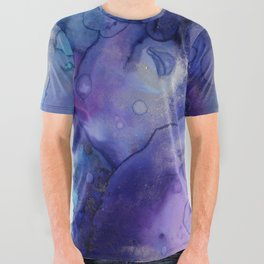 Abstract Watercolor Coastal, Indigo, Blue, Purple All Over Graphic Tee
